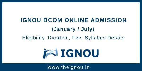 IGNOU BCOM Online Admission