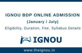 IGNOU BDP Online Admission