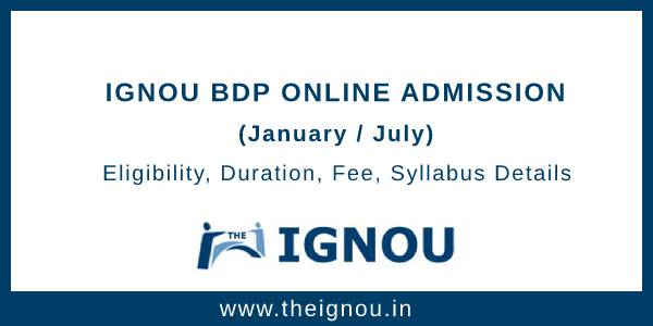 IGNOU BDP Online Admission
