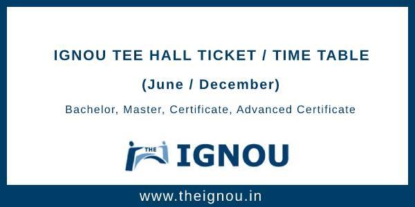 IGNOU Hall Ticket Dec 2019