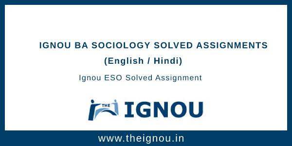 Ignou BA Sociology Solved Assignments