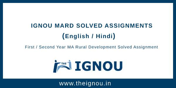 Ignou MARD Solved Assignments