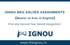 Ignou MEG Solved Assignment