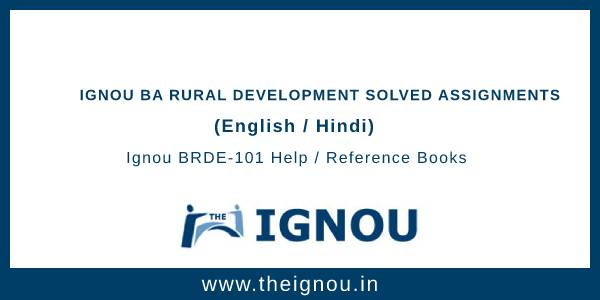 Ignou BA Rural Development Solved Assignments