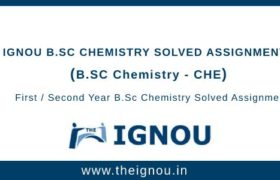 Ignou B.Sc Chemistry Solved Assignment