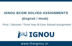 Ignou B.Com Solved Assignment