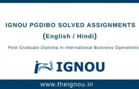 Ignou PGDIBO Solved Assignments
