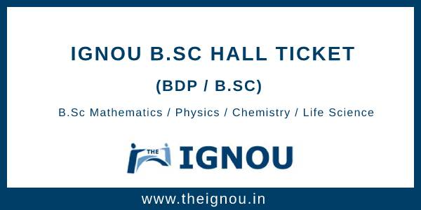 IGNOU BSC Hall Ticket