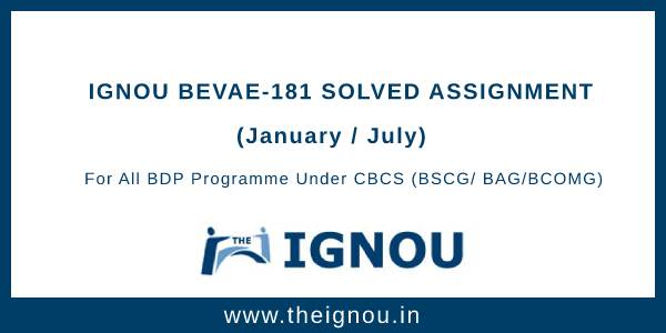 IGNOU BEVAE-181 Assignment