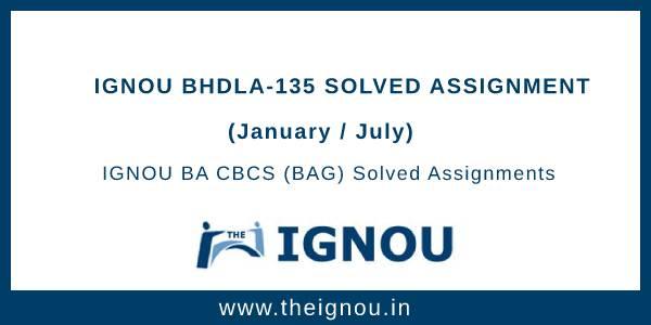 Ignou BHDLA-135 Solved Assignment