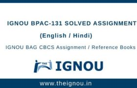 IGNOU BPAC-131 Solved Assignment