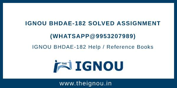 IGNOU BHDAE-182 Solved Assignment