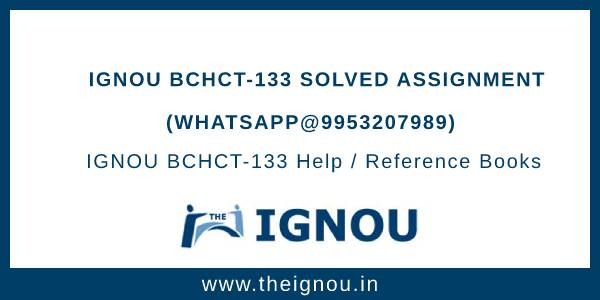 BCHCT-133 Solved Assignment