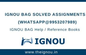 IGNOU BAG Solved Assignment