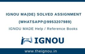 IGNOU MADE Solved Assignment