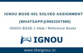 IGNOU BGSE-1 Solved Assignment