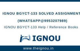 IGNOU BGYCT-133 Solved Assignment