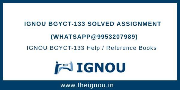 IGNOU BGYCT-133 Solved Assignment