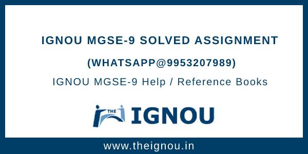 IGNOU MGSE-9 Solved Assignment