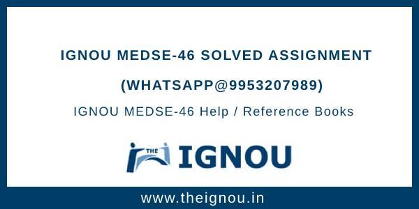 IGNOU MEDSE-46 Solved Assignment