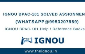 IGNOU BPAC101 Solved Assignment