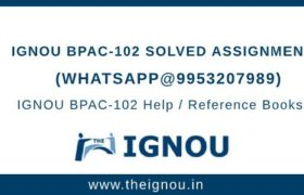 IGNOU BPAC102 Solved Assignment