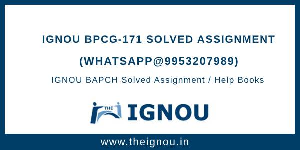 IGNOU BPCG171 Solved Assignment