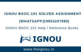 IGNOU BSOC101 Solved Assignment