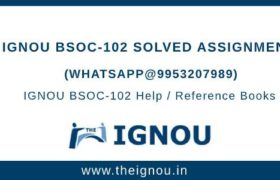 IGNOU Assignment BSOC102