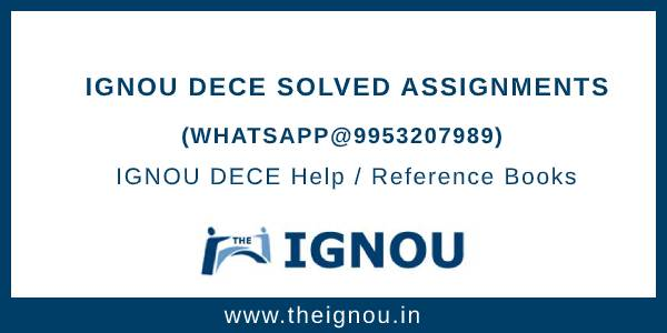 IGNOU Assignment DECE