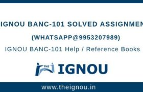 IGNOU BANC101 Assignment