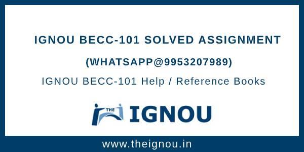 IGNOU BECC101 Assignment