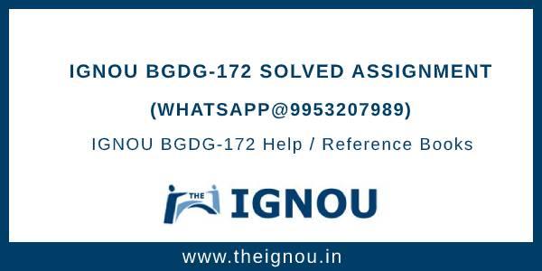IGNOU BGDG172 Assignments