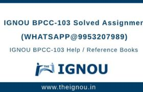BPCC103 Ignou Assignment