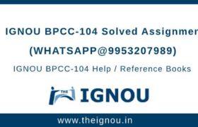 BPCC104 Ignou Assignment