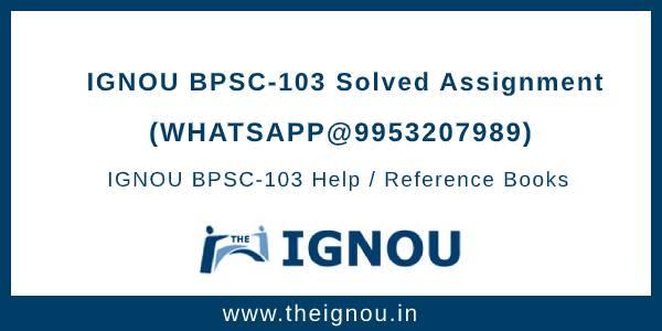 BPSC103 Ignou Assignment