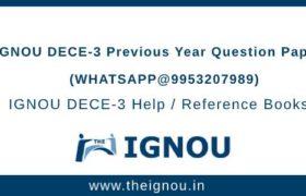 IGNOU DECE-3 Question Papers